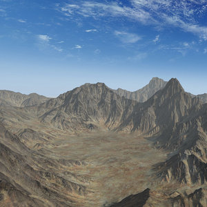 mountain range valley 3D model