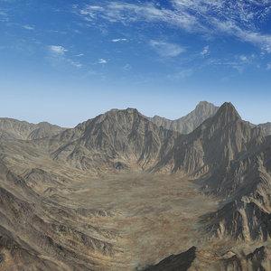 mountain range valley 3D model