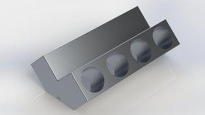 3D cylinder block v8 engine