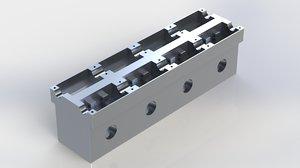 3D model cylinder head v8 engine