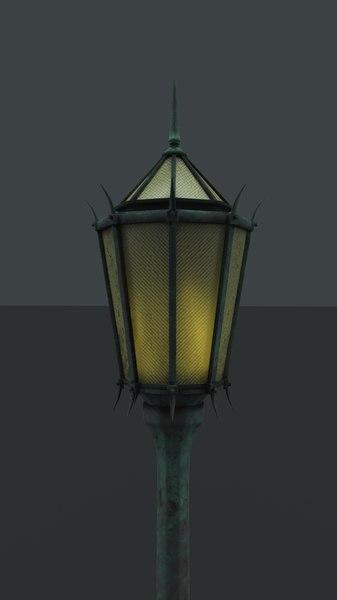 1930s art deco street light 3D