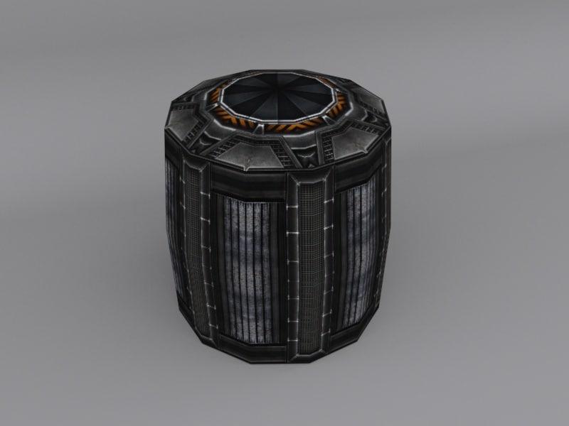 3D barrel sci fi model