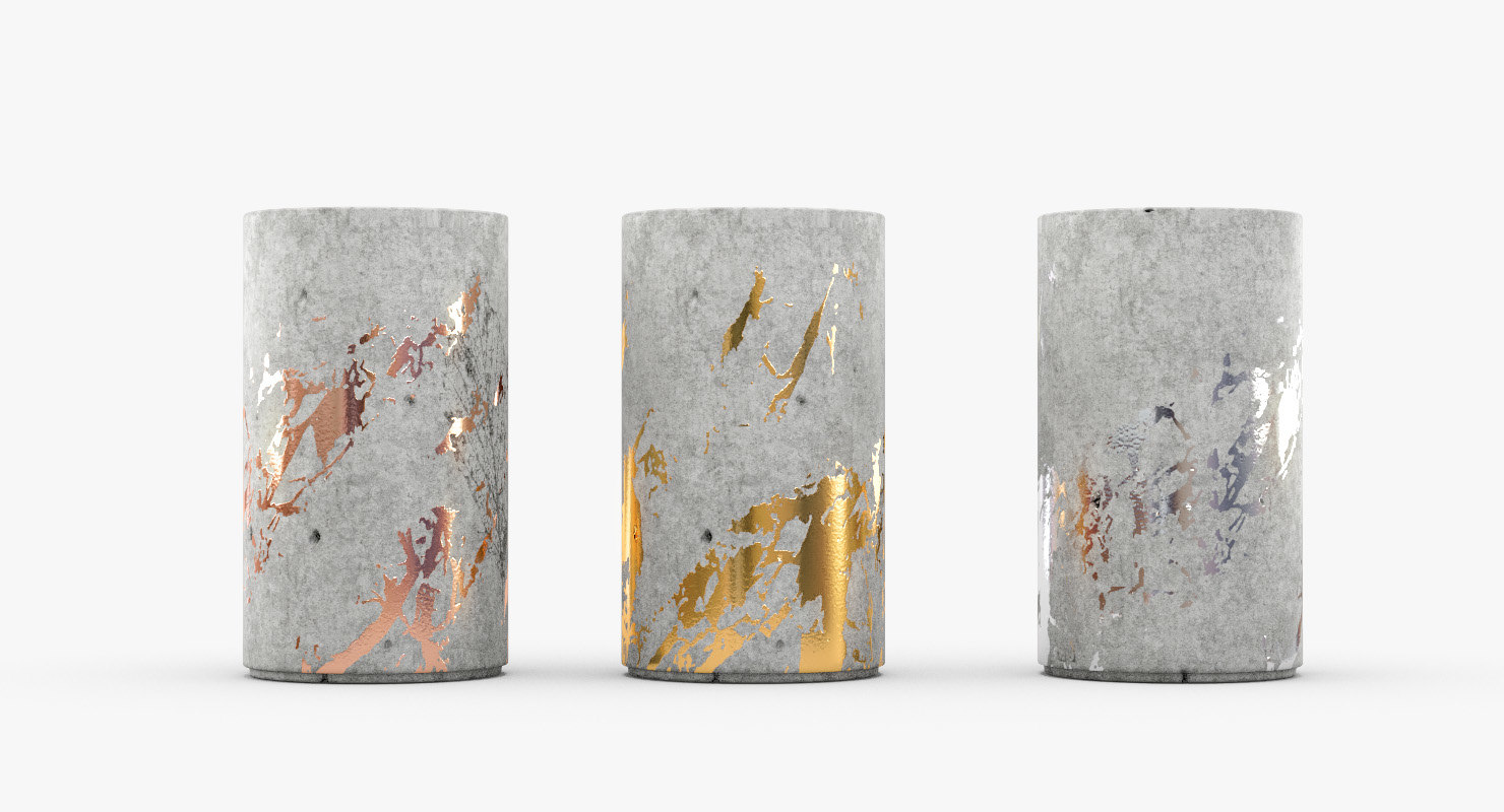3D vases concrete gold gilded model