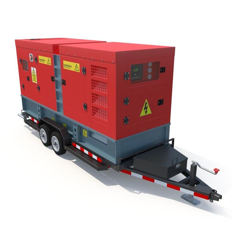 3D diesel generator trailer model