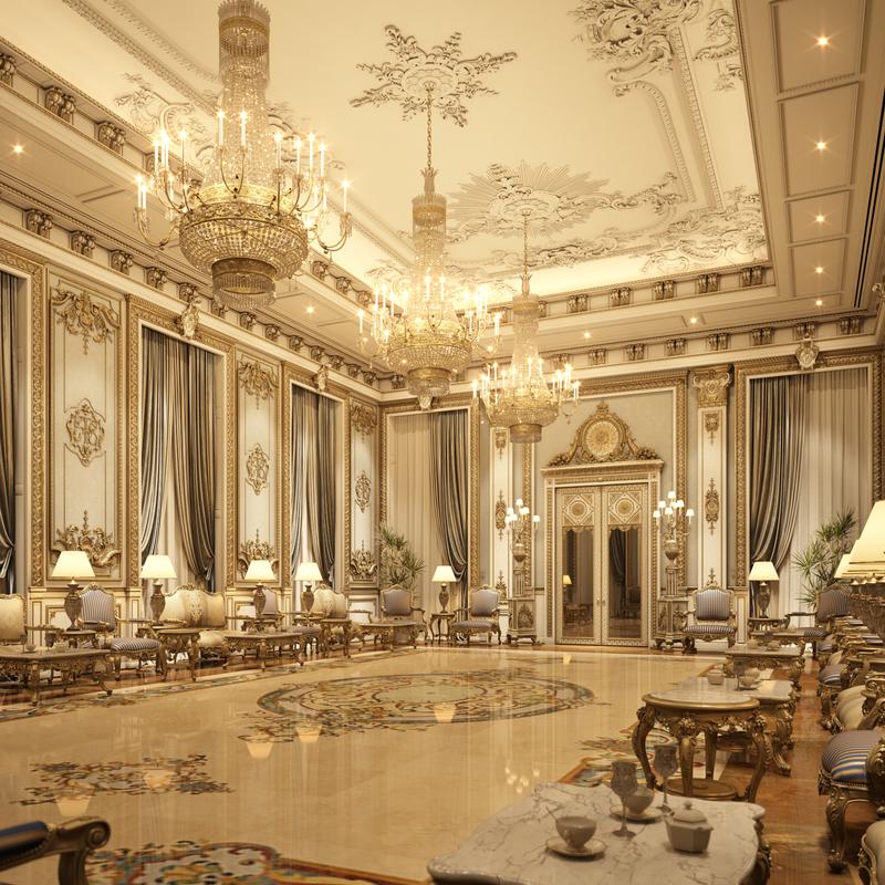 3D interior scene luxury living room