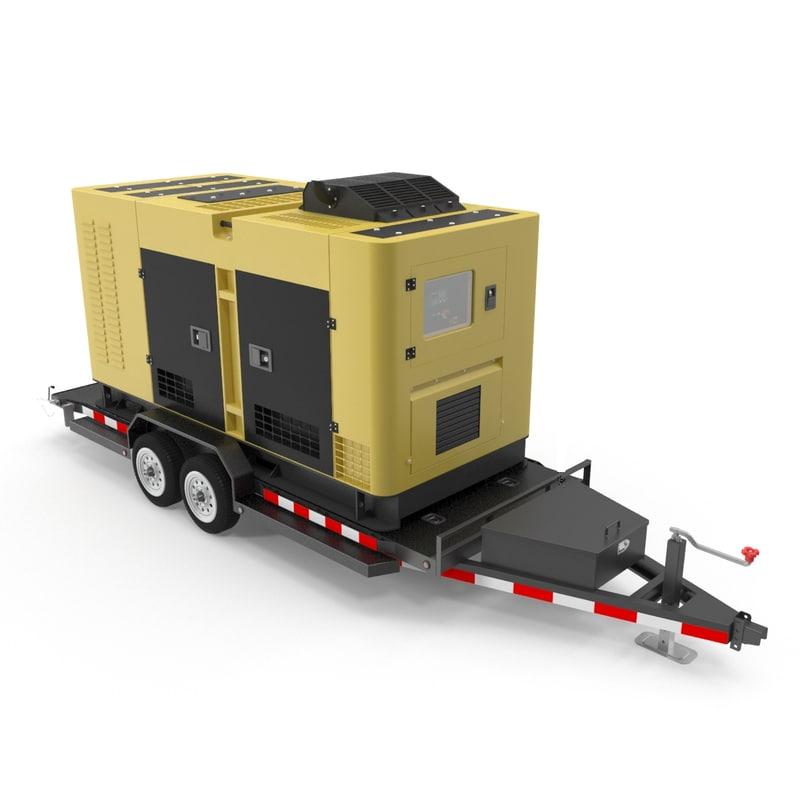 diesel generator trailer 3D model