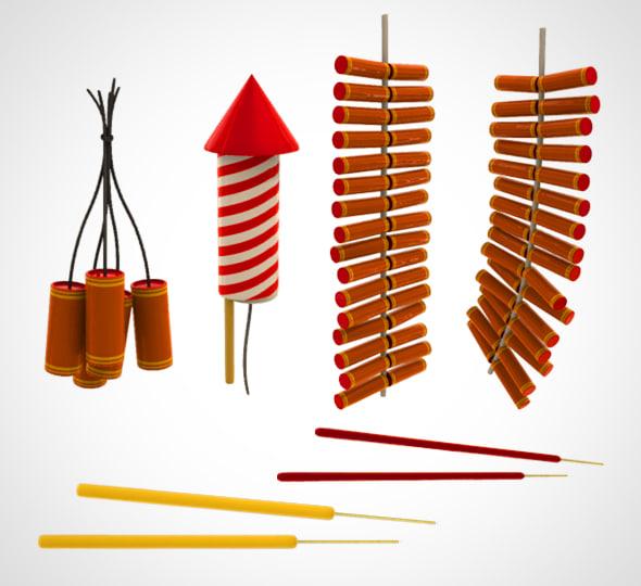 3D chinese fireworks set model