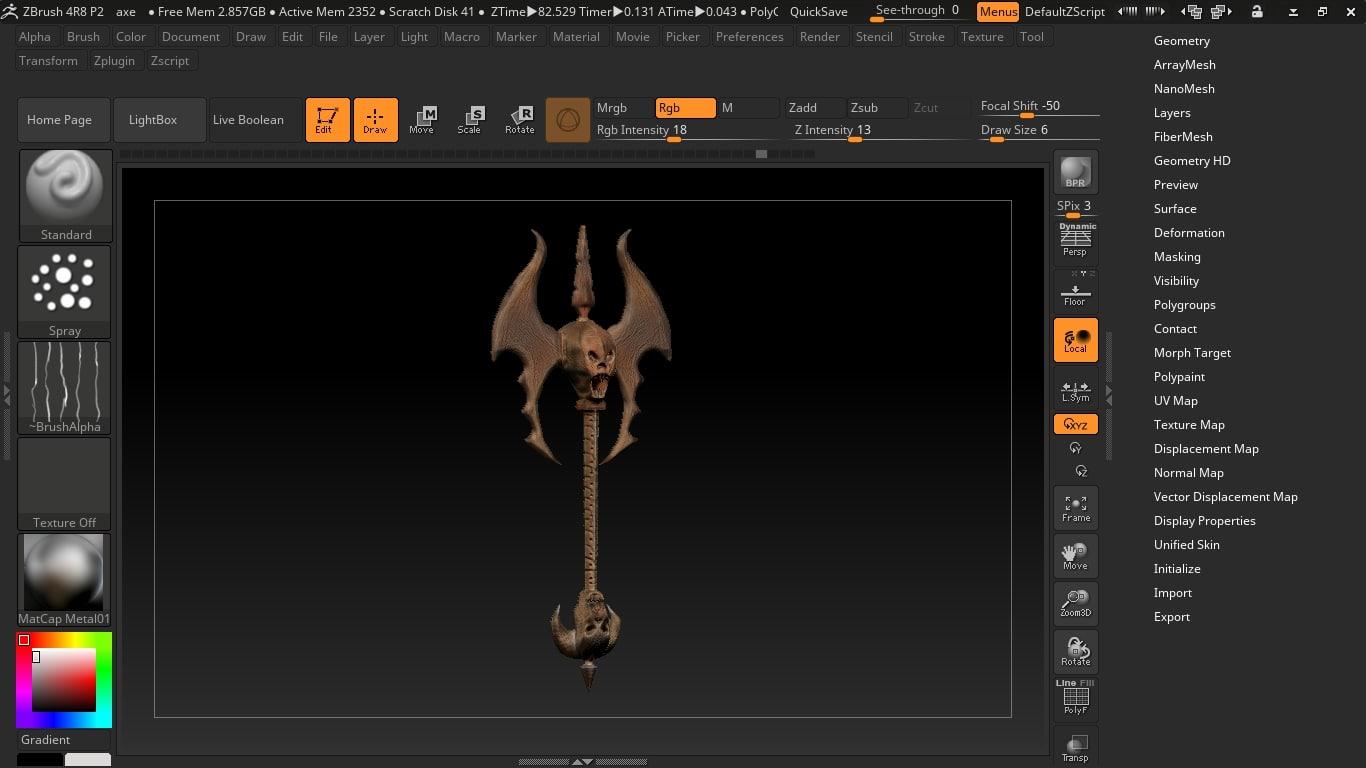 3D model skull axe