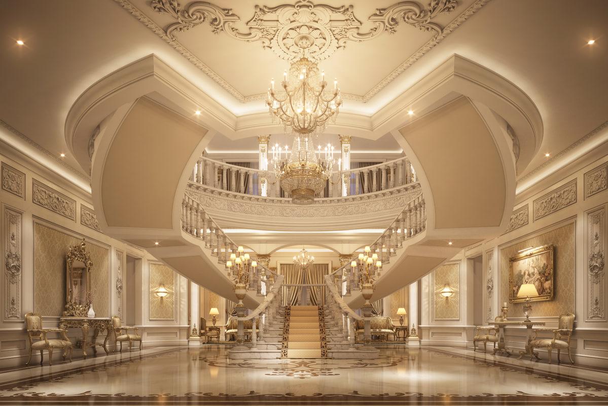 3D classical luxury entrance lobby