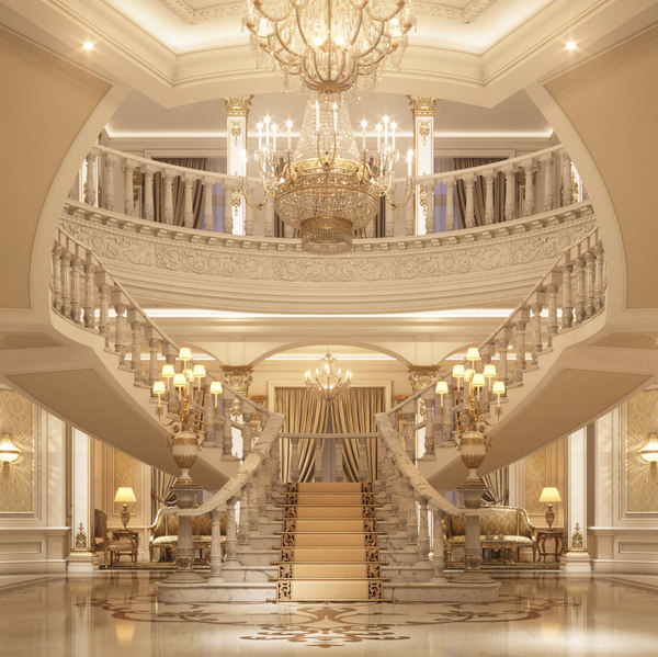 3D classical luxury entrance lobby