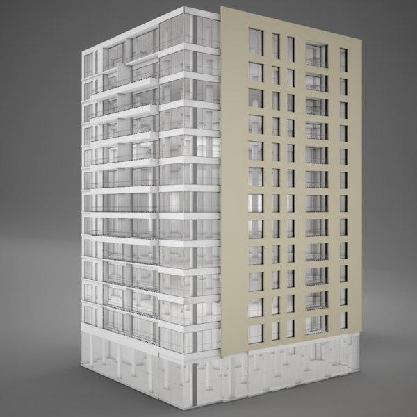 3D tower hotel moden