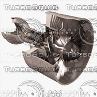 3D turbofan aircraft engine cutaway model