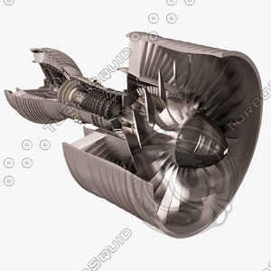 3D turbofan aircraft engine cutaway model