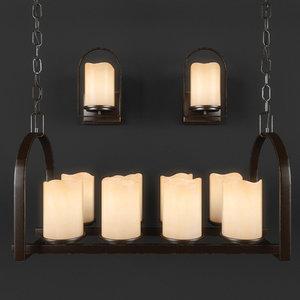 quoizel chandelier aldora sconce 3D