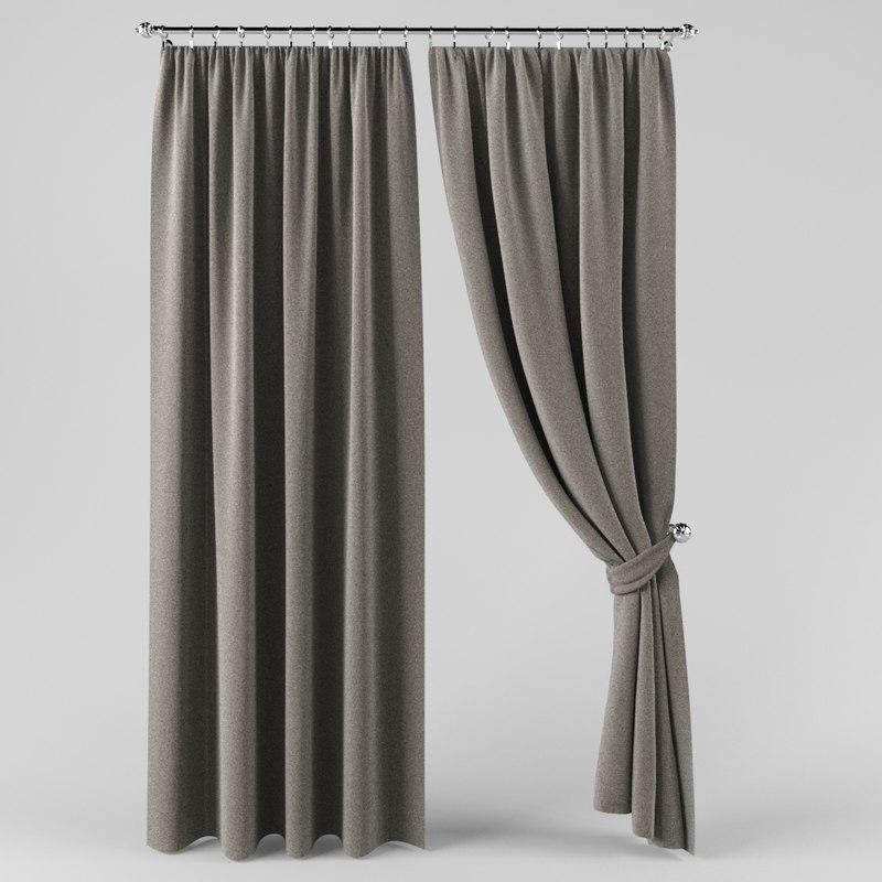 3D model curtain drape