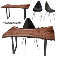 3D wood slab table set