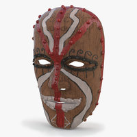 african wood mask 3D model