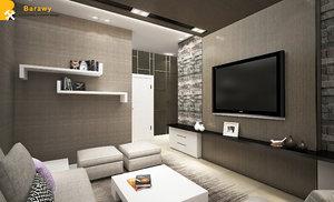 contemporary living room 3D model