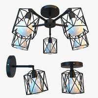 loft wire lamp lights 3D
