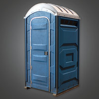 Porta Potty w/ Interior (Construction) - PBR Game Ready