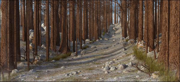 tree mountain path 3D model