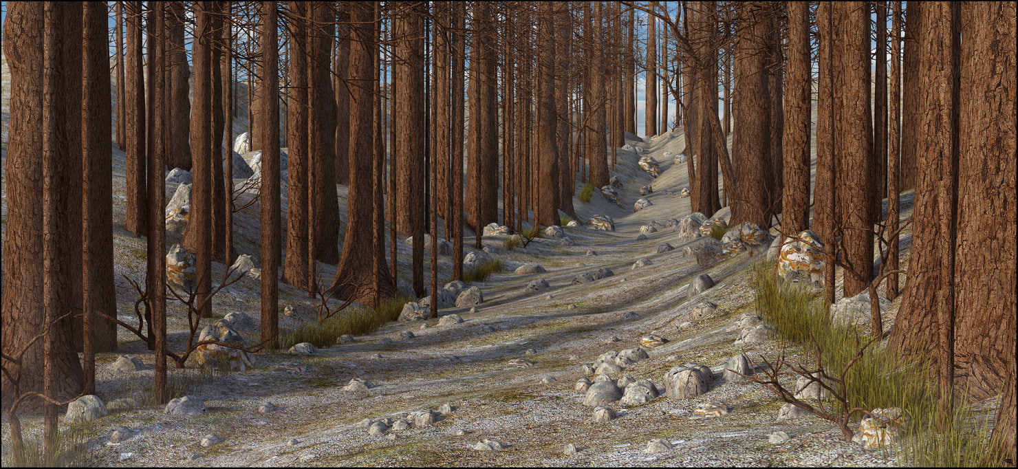 tree mountain path 3D model