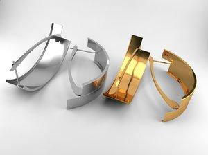 3D simple silver gold earrings model