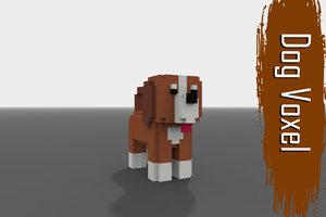 3D voxel dog low-poly model