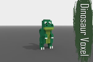 3D voxel dinosaur low-poly