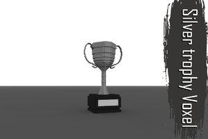 voxel silver troph low-poly 3D model