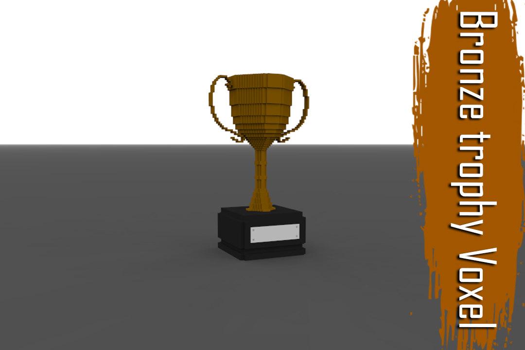 3D troph bronze voxel model