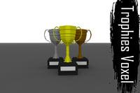3D model voxel trophies - gold silver