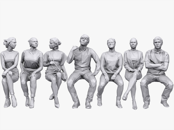 people sitting pack volume 3D model