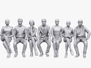 3D people sitting pack volume model