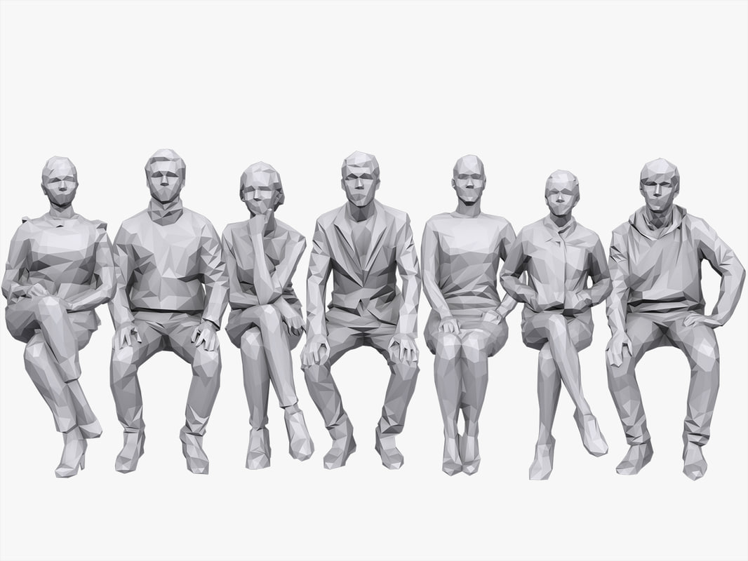 3D people sitting pack volume model