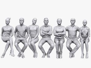 3D people sitting pack volume