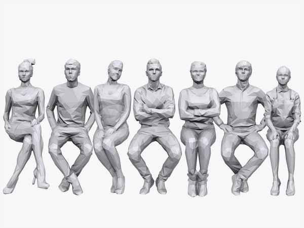 3D people sitting pack volume