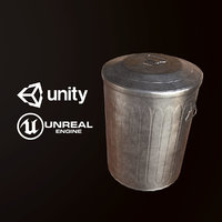 Metal Trash Can - PBR Game Ready
