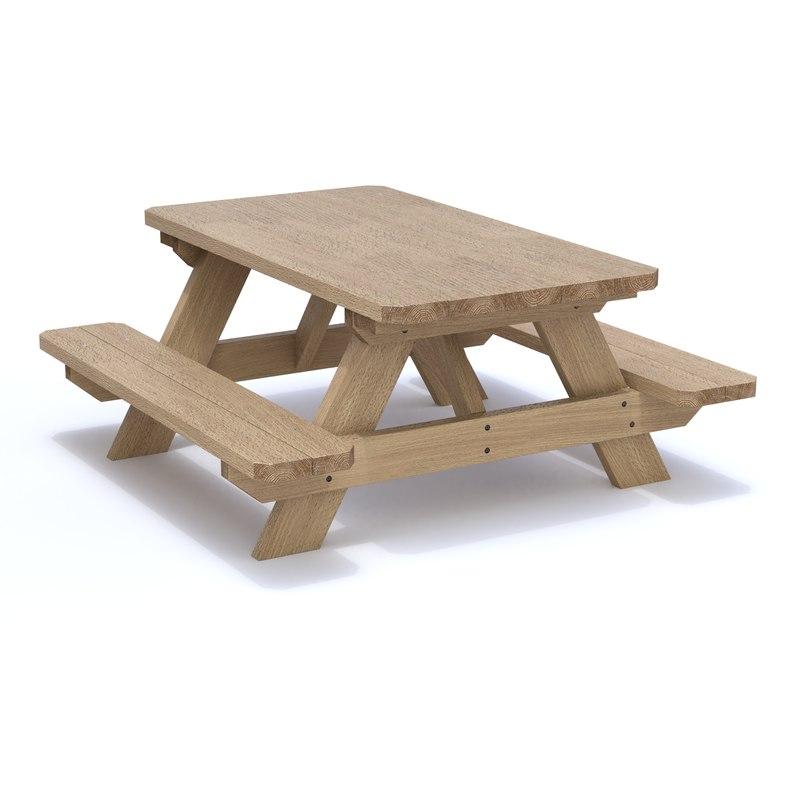 bench picnic 3D model