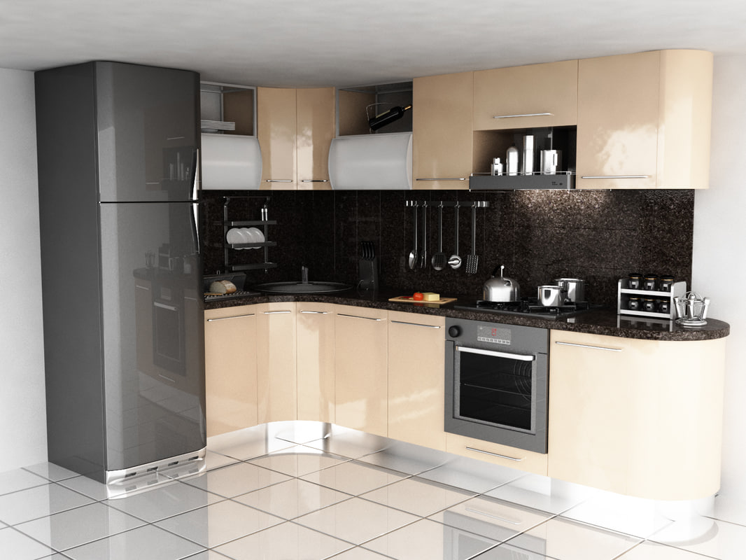 modern kitchen scene model