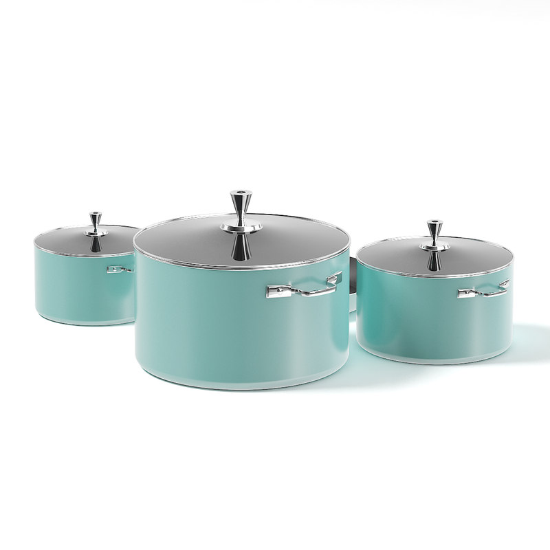 3D green pots frying pan model