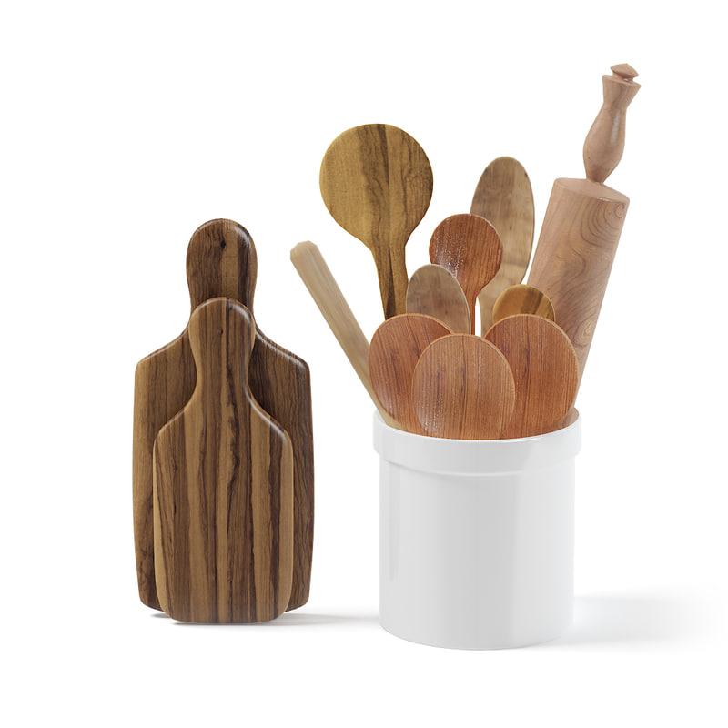 wooden kitchen utensils 3D
