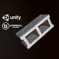 3D pbr ready cinderblock
