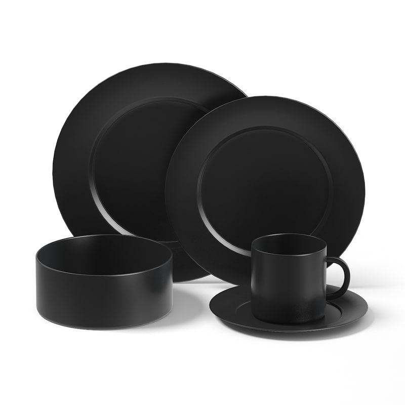 3D black dishes set model