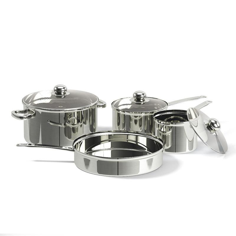 3D metal pots set