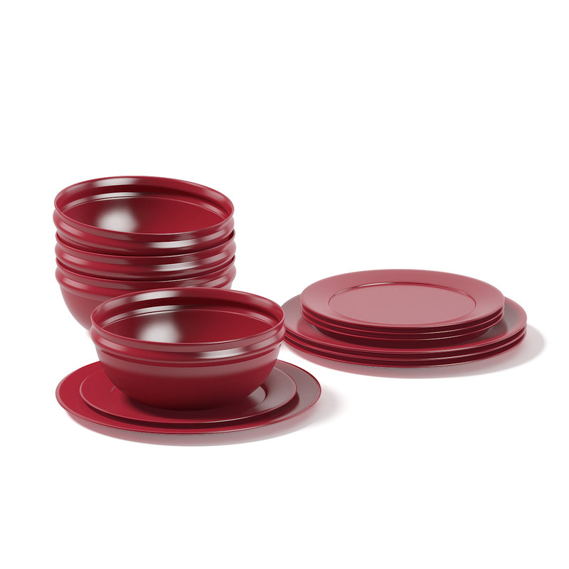 3D red dishes set