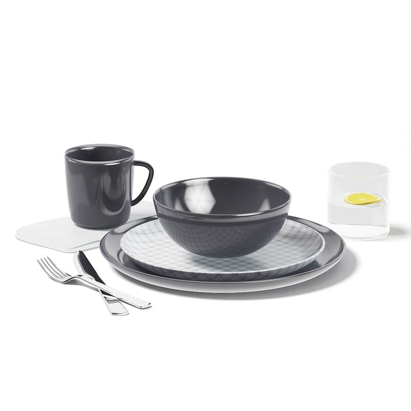 dishes set 3D