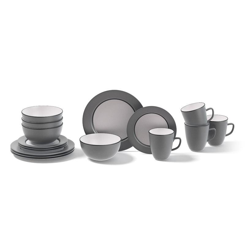 3D grey dished set model
