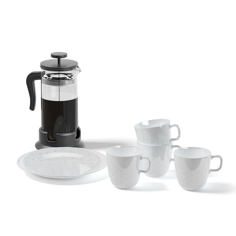 3D white tea set infuser