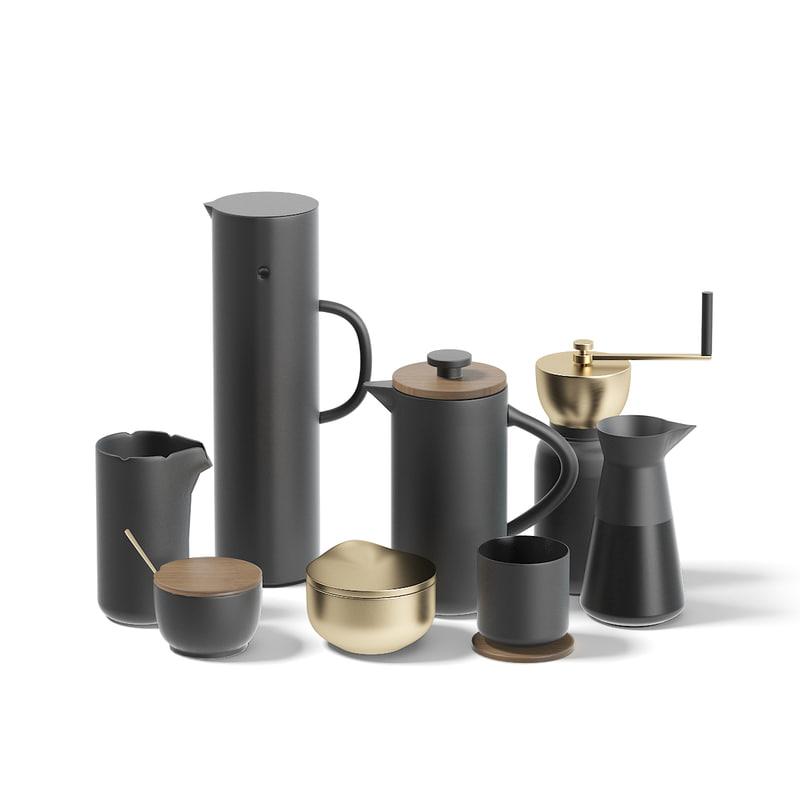black coffee utensils 3D model